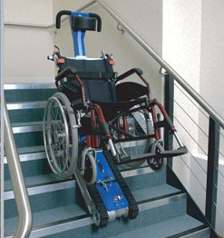 Stairmate stairclimber and wheelchair on stairs